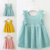 아기 소녀 여름 봄 드레스 레이스 공주 드레스 연꽃 잎 가장자리 버튼 드레스 키즈 부티크 의류