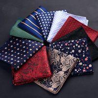 Luxo Homens lenço de bolinhas Striped Impresso Floral lenços de poliéster lenço Negócios bolso Praça Peito de toalha 23 * 23CM