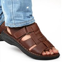New Genuine Leather Men' s Sandals Open Toe Slip On Fash...