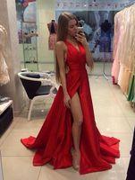 2019 красные длинные A-Line платья выпускного вечера сексуальные платья выпускного вечера с высоким разрезом V-образным вырезом вечерние платья атласные вечерние платья атласные дешевые плюс размер платья
