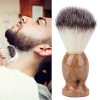 Cepillo de afeitar de los hombres del pelo del tejón Salón de afeitar de los hombres del salón de limpieza de la barba facial Herramienta del afeitado Cepillo con mango de madera para los hombres
