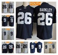청소년 펜 스테이트 닛티니 라이온스 # 9 추적 McSorley 26 Saquon Barkley Kids Big Ten Penn State Navy Blue White Stitched College Football Jerseys