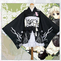Estilo japonés kimono de las mujeres elegantes del estampado de flores funcionamiento de la etapa del traje original de la vendimia tradición Yukata del traje de Cosplay del vestido