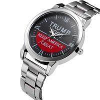 Trump 2020 Quarz-Uhr-silbrige Edelstahl Armband Donald Trump Frauen Männer Retro-Armbanduhr-Uhr-Party Favor LJJA4142