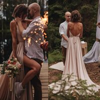 2020 Sexy Simple Summer Country Boho Wedding Dresses Backles...