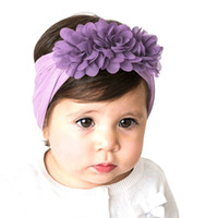 Gril baby 3 fiori fasce per capelli Set di fiori in chiffon fasce elastiche Fasce per la testa Fascia per capelli Accessori per capelli