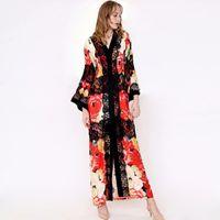 2019 여성의 활주로 드레스 섹시한 V 넥 긴 소매 레이스 패치 워크 꽃 인쇄 느슨한 디자인 패션 캐주얼 하이 스트리트 드레스