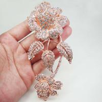 Rose Gold Tone Nouveau Charme 3 Feuille Bouquet De Fleurs Broche Épingle Effacer Strass Cristal Femmes Bijoux
