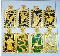 Socjaliki High-End Niska cena Wysokiej Jakości 2 Sztuk / partia Naturalne Wysokie Jade More Design Style Wisiorek Inlay Gold Filed Necklacei Up-Market
