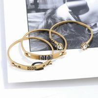 Bijoux de luxe Bijoux Femmes Bracelets Rétro Trois-pièces Cuffs Braceltes Braceltes Hauts-Ents Lettre Double Bracelet de charme pour Fille Mode Bijoux