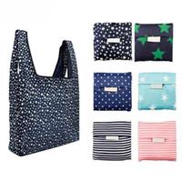 Moda Impressão Dobrável Verde Shopping Saco Tote Dobrável bolsa bolsas convenientes sacos de armazenamento de grande capacidade 6 cores frete grátis