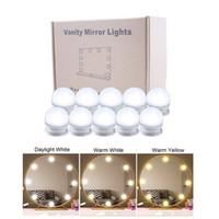 높은 품질의 거울 10 LED 전구 키트 3 색 톤 + 밝기 조절 포트를 충전 + USB 조명