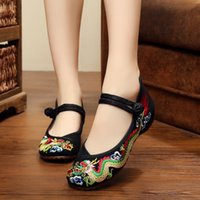 NIS Ethnic Embroidery Dragon Women Flat Shoes Woman Vintage ...