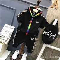 2019 Kids Sets 1-4T Kids Cardigan Zipper Coats Pants 2 Pz / set Bambini Sports Sets Manica lunga coloful Lettere Logo Kids Summer Sets