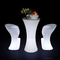 새로운 충전식 바 나이트 클럽 가구 공급을 변경 발광 플라스틱 바 의자 의자 조명 테이블 의자 멀티 컬러 LED가