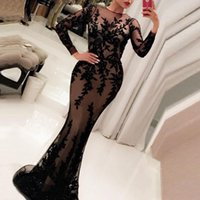 2020 Elegante Langarm Abendkleider Vestidos Black Applique Long Prom Dresses Avondjurk Dubai Mermaid Formale Abendkleider