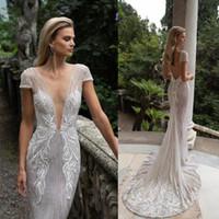 Julie Vino 2020 Mermaid Wedding Dresses Deep V Neck Lace Appliqued Short Sleeve Wedding Gown Custom Made Bridal Dress robe de mariée