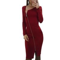 5fdb54df2c74 Sexy donne rosso aderente abito collo irregolare manica lunga abito autunno  anteriore con cerniera fessura partito fasciatura abiti a matita Clubwear