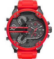Herren Sportuhren Neue DZ Mode männlich Armbanduhren 50MM große Zifferblatt Auto Datum Multi Zeitzone Red Atmospheric Uhr Relógio