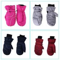 Kleinkind-Kind-Winter-Schnee-Ski-Handschuhe wasserdicht winddicht Fest Farbe Patchwork verdicken Warm Einstellbare Stretchy Fäustlinge 5-9T