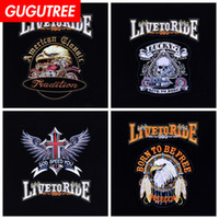 GUGUTREE embroidery big eagle letter patch animal cartoon pa...