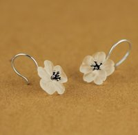 Moda- 925 esterlina brincos de prata fashion piezoelectricidade flor brincos de cristal branco para as mulheres de jóias