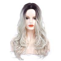 Synthetische Körper-Wellen-Perücken Lange natürliche Ombre Blonde Perücke für Frauen Silber Grau Wellig 24 Zoll hitzebeständig Haar