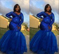 Royal Blue Manga Larga Mermaid Plus Tamaño Prom Vestidos de noche Larga 2021 Lentejuelas con cuello en V Organeza Applique Ocasión especial Vestido Sudáfrica
