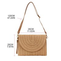 Women Straw Handbag Clutch Shoulder Bag Lady Crossbody Envel...
