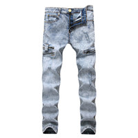 Lápiz Jeans Hombres Denim Cintura elástica alta desgastada Slim Fit Snow Pale Blue Pocket Zipperd Long Pants