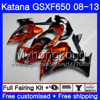 Corpo para SUZUKI KATANA GSXF 650 GSX 650F GSX650F 08 09 10 11 12 13 quente Laranja preto 303HM.2 GSXF650 2008 2009 2010 2011 2012 2013 Carenagens