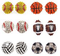 Новая спортивного баскетбол волейбол шпилька серьга Bling бейсбол софтбол стержень серьга Rhinestone Кристалл Bling спортивных девушки