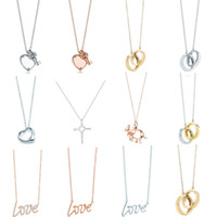 Cadeau de charme 100% 925 Silver Love and Key Cross Pendentif Collier Pendentif Rose Gold Bijoux en argent Bijoux en argent Match Fit Fit Tiff Bijoux