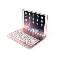 iPad pro 9.7 havanın 2 için 2017 ultra ince renkli arka ışık Alüminyum çevirme koruyucu kapak Bluetooth klavye durumda