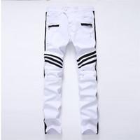 New Hole White Herren Jeans Gerade New Brand Denim Jeans Mit Reißverschlüssen Kontrastfarbe Streifen Männliche Hosen Schlank Plus Size Hosen Y19060501