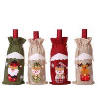 2020 Новый рождественские украшения Бутылка красного вина крышка сумки Санта-Клауса Подарочные мешки Шампанское вино мешок Xmas отель украшения ZZA1390a