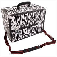 Verkoop!!! Groothandel Gratis verzending SM-2083 aluminium make-up trein case juwelen doos organizer witte zebra streep