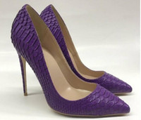 2019 New Purple Serpentine women' s High- heeled Shoes Fi...