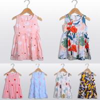 Moda Kız Elbise Yaz Kolsuz Elbiseler Sute Karikatür Pijama Prenses Tasarımcısı Tek Parça Etek Güzel Plaj Elbise Giyim 90-150