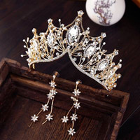 Gold Luxury Bridal Crown Cheap High Quality Sparkle Beaded C...