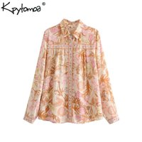 Boho Chic Summer Tops Vintage Floral Print Shirts Femmes 2019 Fashion Revers Collier à manches longues Beach Blouses Blusas Mujer