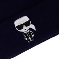 Designer de moda Karl Mulheres Homens Chapéu De Malha 2019 Novo Dos Desenhos Animados Beanie Bordado Esqui Inverno Quente Meninos Meninas Unisex Skullies Transporte da gota