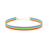Gay Pride Rainbow Choker Halskette LGBT Homosexuell und lesbisch Pride Lace Chockers Ribbon Kragen mit Anhänger Erklärung Schmuck für Männer Frauen
