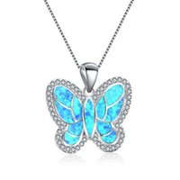 Joyería al por mayor 10 piezas de plata chapado en forma de mariposa colgante de muchos colores Opalite del ópalo collar para Aniversario Gify