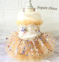 Spedizione gratuita fatti a mano champagne colorato stelle vestiti cane vestiti da sposa abito da sposa abiti da ballo gatti abbigliamento barboncino barboncino yorkie