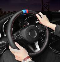 Lüks Araba Direksiyon Kapağı 15 inç M Spor Karbon Fiber Desen Arabalar Için Deri Koltuk Minderleri Oto Buick Regal BMW Aksesuarları