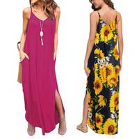 포켓 숄더 스트랩 맥시 드레스 고체 꽃 무늬 슬립 드레스 분할 해변 여름 여성 패션 의류 의지와 모래 선물을 드레스