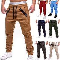 Men Casual Joggers Pants Solid Thin Cargo Sweatpants Male Mu...