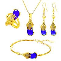 Huilin joyería de la joyería hermosa Conjunto de 4 Pixiu anillo pendientes del collar de la pulsera al por mayor para los hombres y las mujeres
