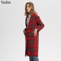 Vadim las mujeres a cuadros rojos abrigo largo de lana de invierno caliente de espesor a cuadros de manga larga a su vez hacia abajo del collar floja recta encabeza CA213